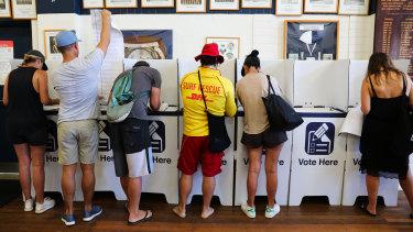 Voters in Bondi.