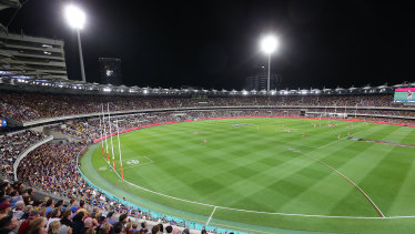 Night footy at the Gabba.