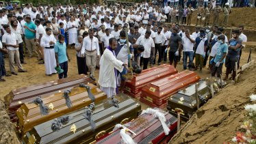 A mass burial for Easter Sunday attack victims in Negombo on Wednesday.