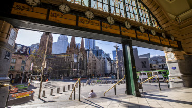 Pedestrian numbers near Flinders St hit a record lockdown low on Thursday.