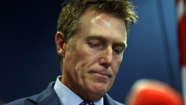 Attorney-General Christian Porter at a press conference during which he denied allegations he raped a member of his high school debating team when he was 17.