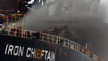 The fire on the Iron Chieftain has suspended operations at Port Kembla.