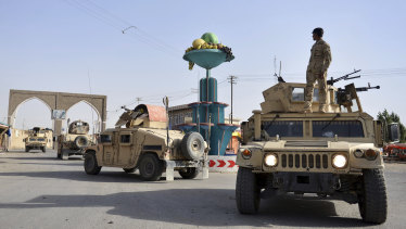Afghan Security personnel patrol in the city of Ghazni province west of Kabul, Afghanistan.