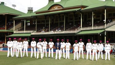 The Indian team wear McGrath Foundation Pink Caps during the Sydney Test.