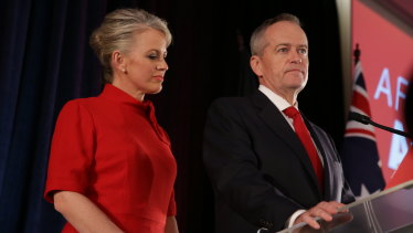 Bill Shorten, with wife Chloe, concedes election defeat on May 18.