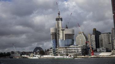 Crown Casino under construction at Sydney's Barangaroo.