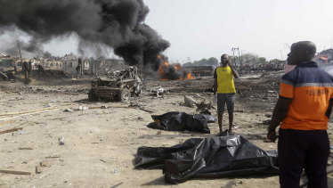 After the blast in Lagos, Nigeria on Sunday.