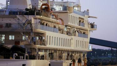 The Greg Mortimer docked in Montevideo, Uruguay.