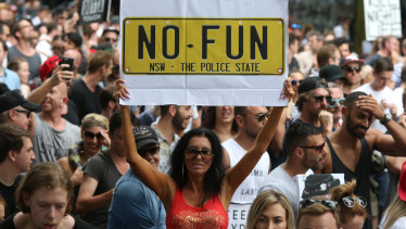 Sydney's controversial lockout laws provoked vigorous debate and protests such as this 2016 rally.