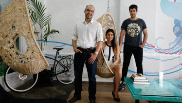 Canva co-founders Cameron Adams, Melanie Perkins and Cliff Obrecht.