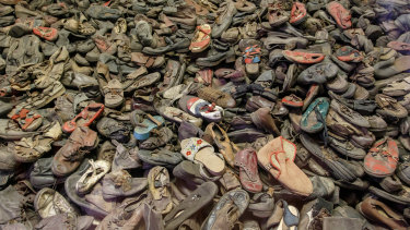 Pile of shoes from the victims of the Holocaust at Auschwitz-Birkenau.