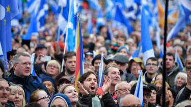 Independence supporters gather at rally in George Square in Glasgow, Scotland.