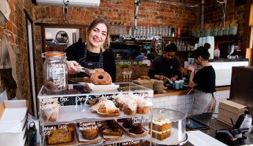 Ashely Wilderink, owner of Brothers Ben cafe in Petersham, says demand for coffee is strong with so many working from home.