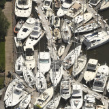 Boats are stacked on top of each other in the Southport Marina in Southport N.C.