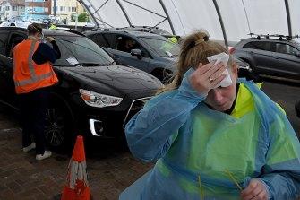 Registered nurse Emma Birrell hard at work at the Bondi Beach drive-through COVID-19 testing clinic