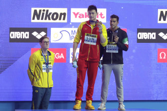 Sun Yang, who has been banned for eight years, and Mack Horton at last year's world titles in South Korea.