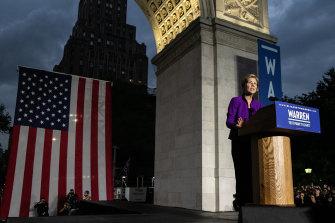 A left-leaning populist: Senator Elizabeth Warren in New York.