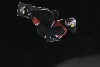 Australian Scotty James on his way to the World Cup men's snowboard halfpipe title in Calgary, Canada.