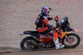 Toby Price in action during stage four of the Dakar Rally.
