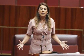 Senator Lidia Thorpe during debate in the Senate at Parliament House.