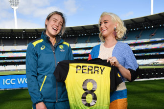Ellyse Perry and Katy Perry ahead of the T20 World Cup final at the MCG.