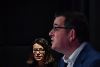Then-health minister Ms Mikakos with Premier Daniel Andrews in August last year.