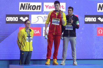 Mack Horton refuses to share the podium at last year's world titles in South Korea with Sun Yang, who has since been banned for eight years.