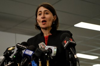 The NSW Premier at a vaccination update earlier today.