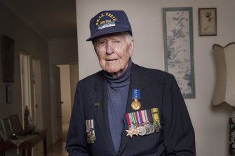 World War II veteran Frank McGovern at home in Randwick.