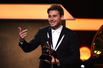 Flume accepts the award for best dance/electronic album at the 2017 Grammys.