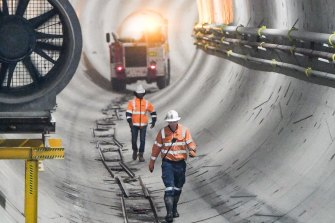 Workers in the Metro Tunnel.