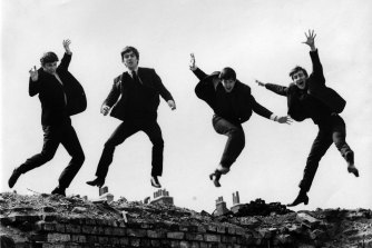 The Beatles in 1963, from left: Ringo Starr, George Harrison, Paul McCartney, John Lennon. The photo was used on the Twist & Shout EP sleeve.