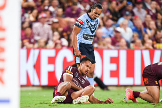 Some Queenslanders have taken offence at the image of Jarome Luai roaring at a prone Felise Kaufusi.