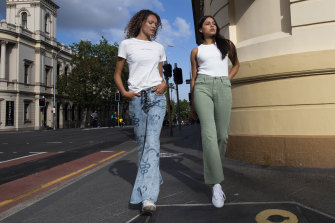 Flares and bootleg styles are staging a street style comeback. Models Valerie Wetmore and Natalia Loaiza wearing One Teaspoon.