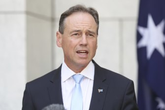 "Health Minister Greg Hunt, pictured at a press conference last week, said mental health remains one of the government's ""highest priorities""."