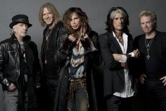 Aerosmith's original members, from left, Brad Whitford, Tom Hamilton, Steven Tyler, Joe Perry and Joey Kramer.