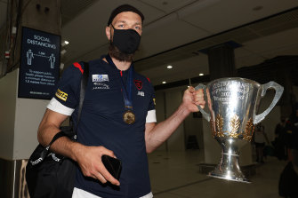 It's come home: Max Gawn with the cup.