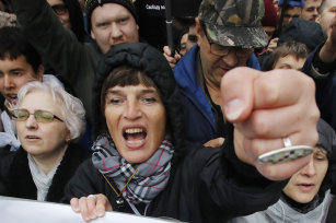 Protesters in Moscow on Sunday.