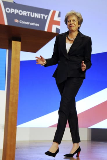 That's not dancing: British Prime Minister Theresa May at her party's conference in Birmingham in October.