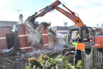 Demolition work was well advanced by lunchtime on Thursday.