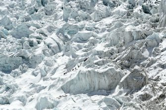 The Khumbu Icefall, just above base camp, is one of the summit climb's most dangerous stages.
