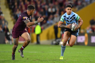 Limited impact: Latrell Mitchell has been surrounded by distractions, and had a night to forget in Origin I.