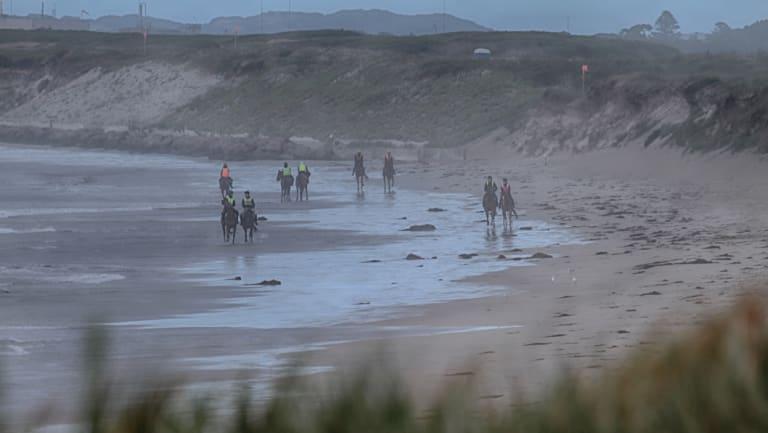 Racehorse trainers on Golfies Beach, near Port Fairy.