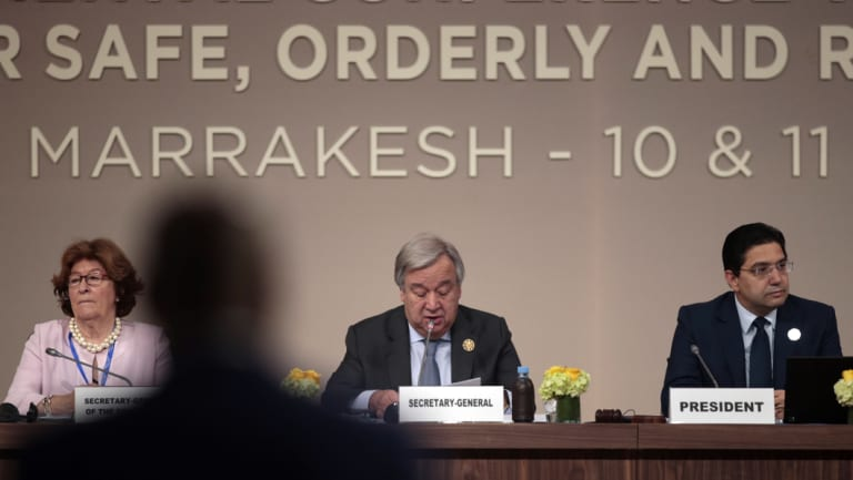 UN Secretary-General Antonio Guterres, centre, at the opening session of a UN Migration Conference in Marrakech, Morocco, on Monday, Dec.10, 2018.