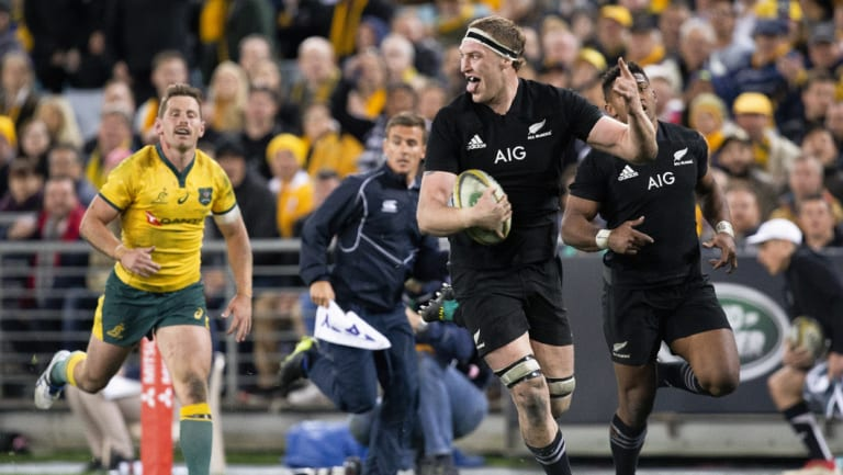 Class above: Brodie Retallick celebrates a try for the All Blacks.