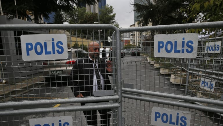 Barriers block the road leading to the Saudi Arabia consulate in Istanbul.