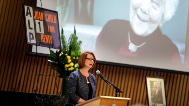 Prime Minister Julia Gillard speaks at the State Funeral for The Honourable Joan Child AO, March 5, 2013.
