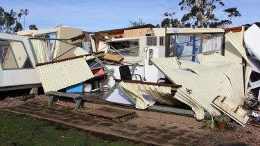 Purrumbete's caravan park in the wake of the storm.