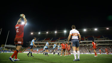 Up the highway: The Waratahs played the Sunwolves at McDonald Jones Stadium in Newcastle last year.