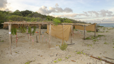 Shade shelters on Milman Island created by Koala and the WWF.